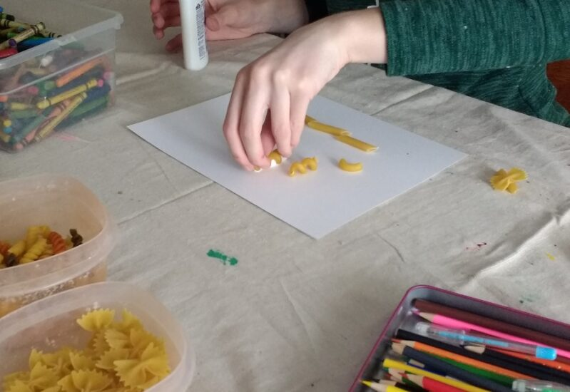Pasta is one of those items in your pantry that are simply versatile! Try out these super simple ideas for pasta art with your kids at home!