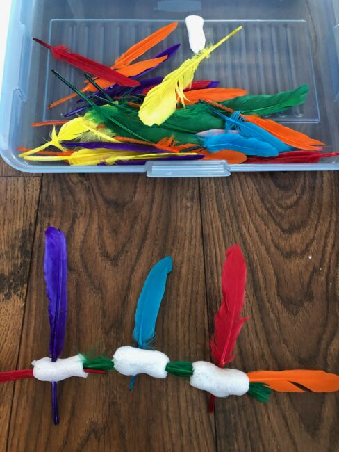 Get creative with feathers and packing peanuts or just explore.