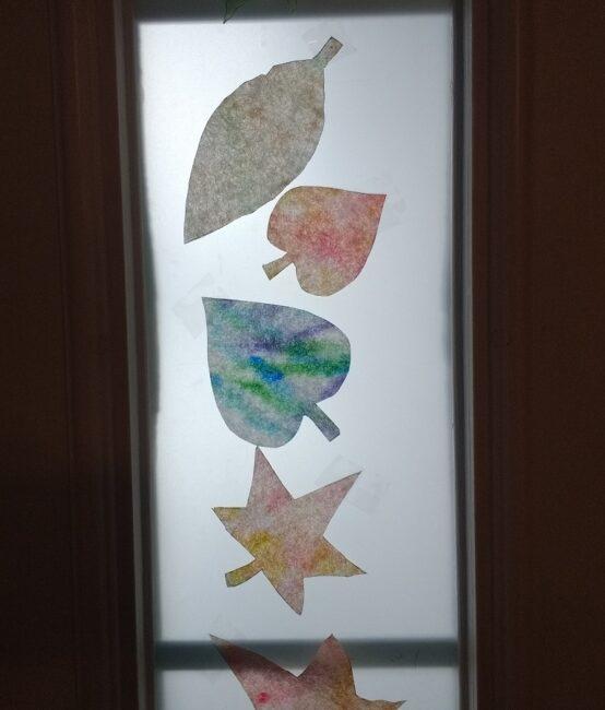 coffee filter autumn colored leaf suncatcher craft