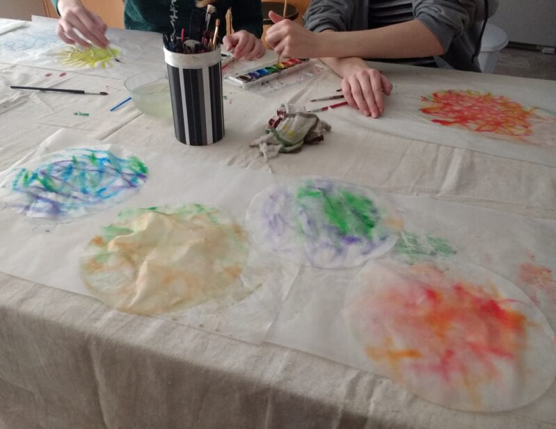 painted coffee filters for autumn leaf craft drying