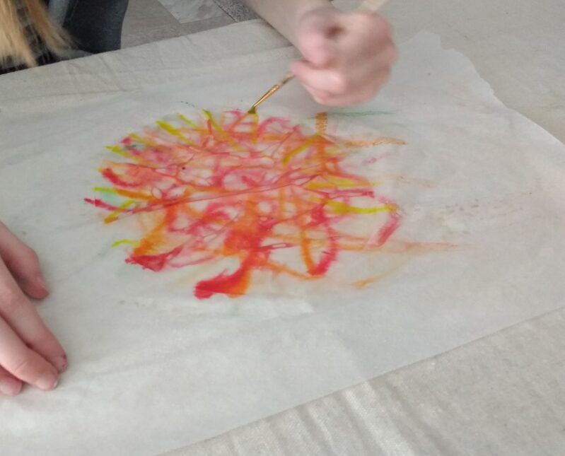 Bring the beautiful colors of the fall season into your home with this easy coffee filter autumn leaves craft simple enough for preschoolers.