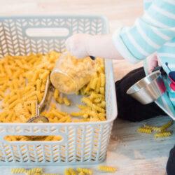 Pasta Sensory Bin (Hands On As We Grow)