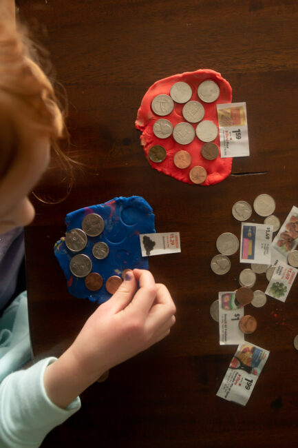 Big Kid counting exact money value game that is super simple and adaptable for any age!