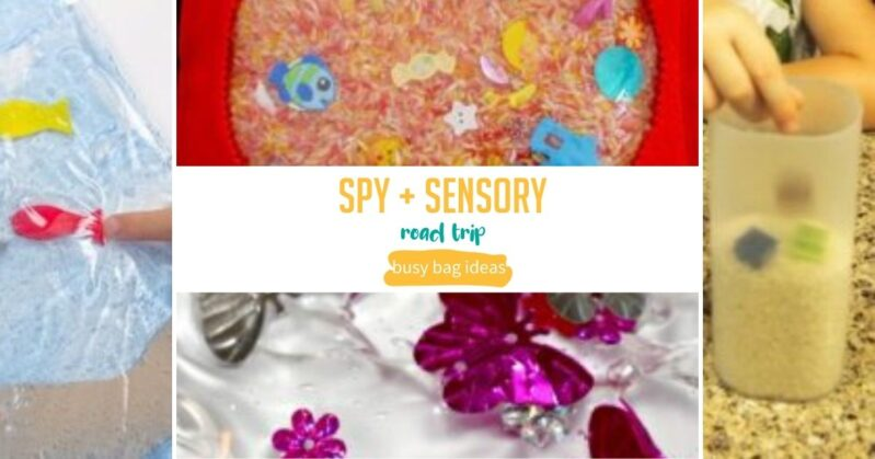 Spy and sensory busy bags for toddlers when you are on the go.
