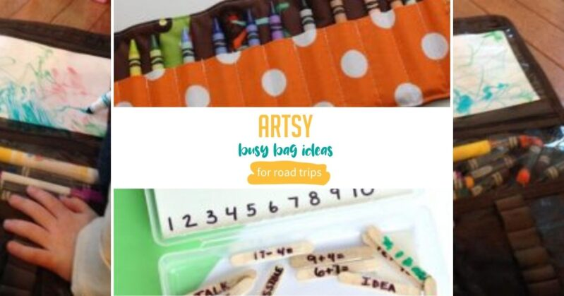 Keep toddlers busy with these artsy busy bag ideas that are perfect to take on the road.