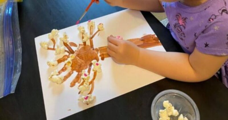 Toddlers and preschoolers will love to get sensory with this super simple cherry blossom spring tree craft. Bonus, enjoy a little snack too while you get creative!