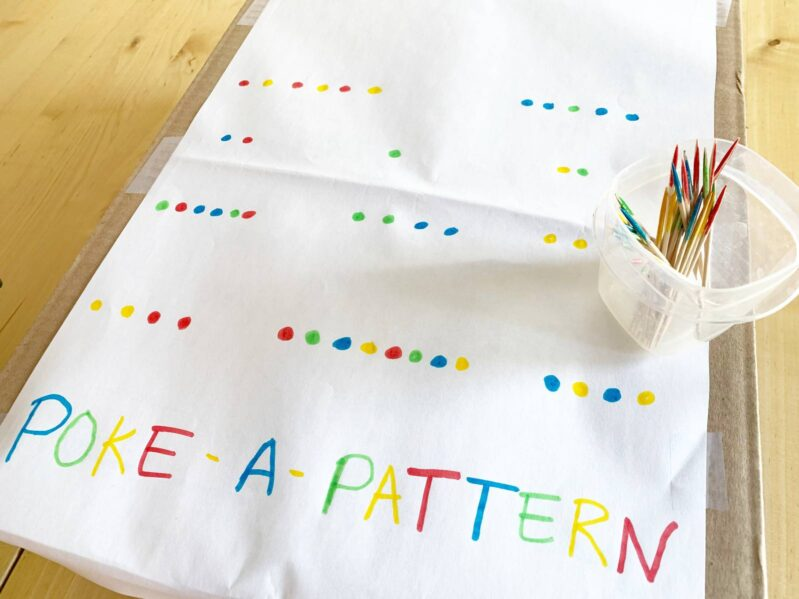 Poke a pattern in a box and work on fine motor, critical thinking, early math and colors with this simple activity for preschoolers at home.