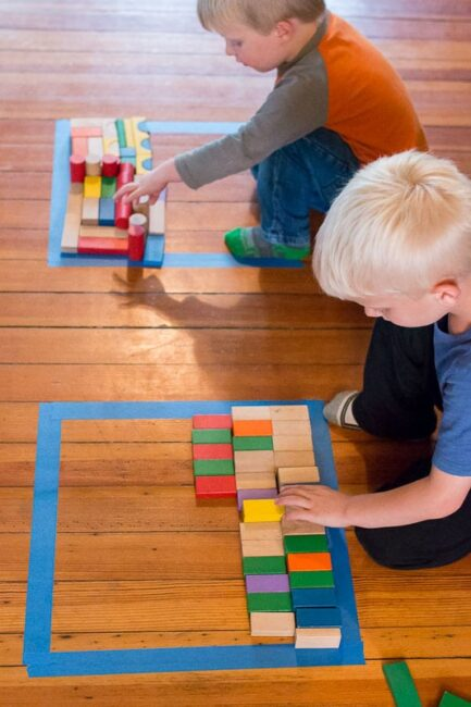 Floor Block and Tape Puzzle Game for Kids to do at home