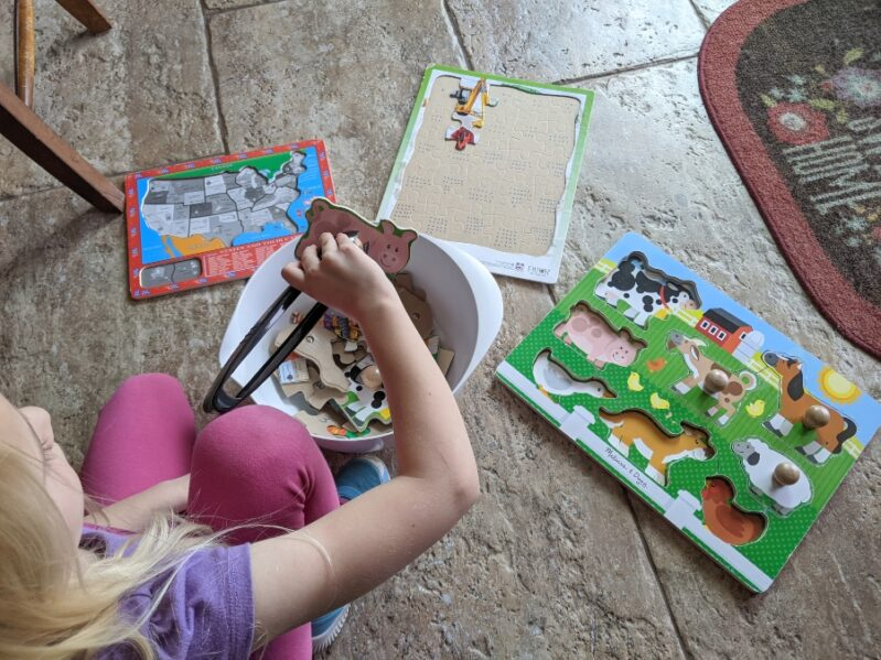 Mix and Match Puzzle Game for fine motor play fun for kids.