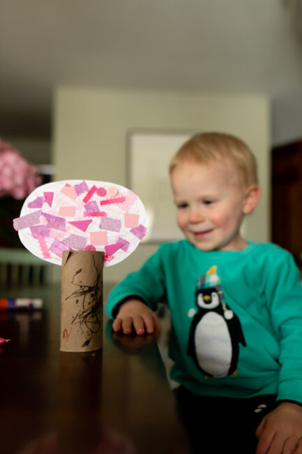 Try this super simple and easy spring tree craft for toddlers and preschoolers using empty toilet paper rolls. You'll love to display them!