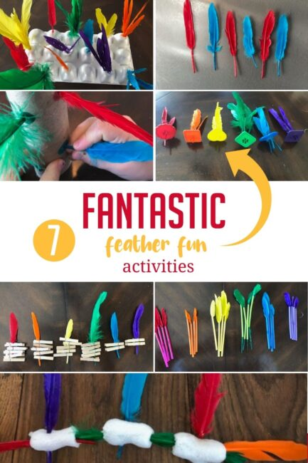 Here are 7 amazingly simple and fun feather activities for toddlers and preschoolers to strengthen colors and fine motor or just have fun!