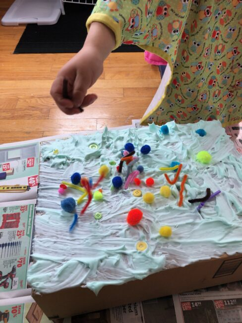 Get creative with a simple shaving cream sensory box cake activity for pretend play and messy fun inside using household supplies! Go for it!