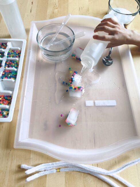 Take fine motor and sensory to a new level with this easy and fun stringing beads activity for preschool kids that uses ice!