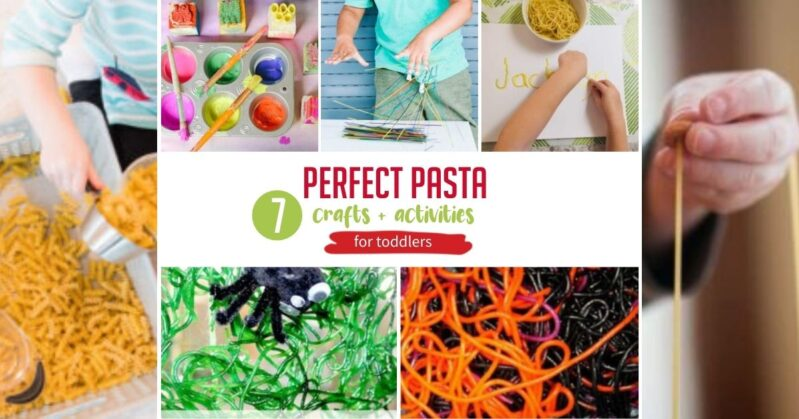 Here are 7 simple pasta crafts and activities for cheap and easy sensory fun with toddlers and preschoolers at home! What will your kids make?