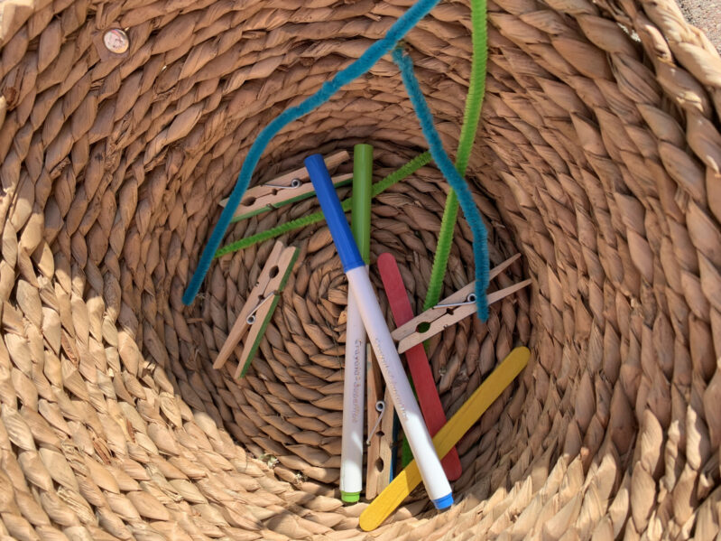 Supplies needed to create your own balancing stick sidekick gravity experiment and activity for kids.