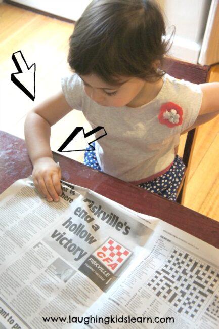 Newspaper Scrunch Fine Motor Game