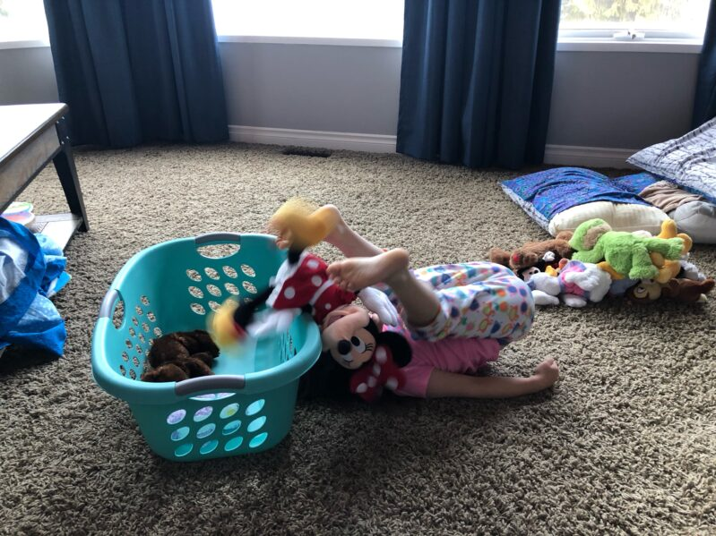 Stuffed Animal Game 1: Feet Toss - Transfer soft toys from floor over your body and into the laundry hamper.