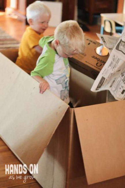 Newspaper Box Dumpster Diving Pretend Play Activity