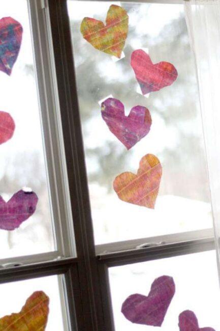 Watercolor Newspaper Hearts Craft
