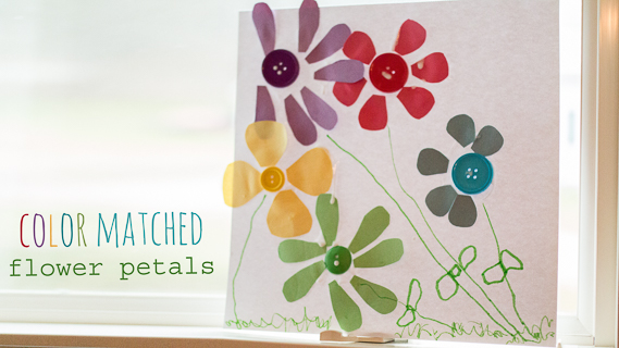 Work on color recognition while you create a beautiful spring flower color matching craft with your preschoolers at home or in the classroom using this simple activity.