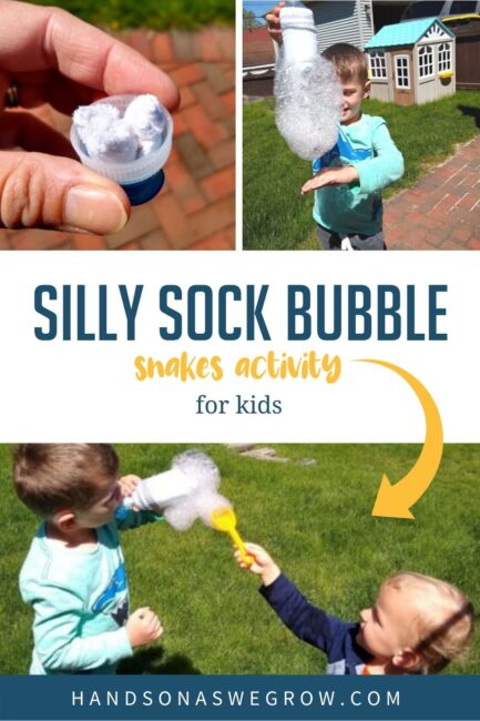 Have some silly sensory fun with this sock bubble snakes activity that simple for toddlers and preschoolers to explore outside together.