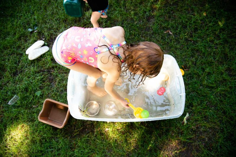 Add fine motor to your course with fishing for play food using shovels and spoons.