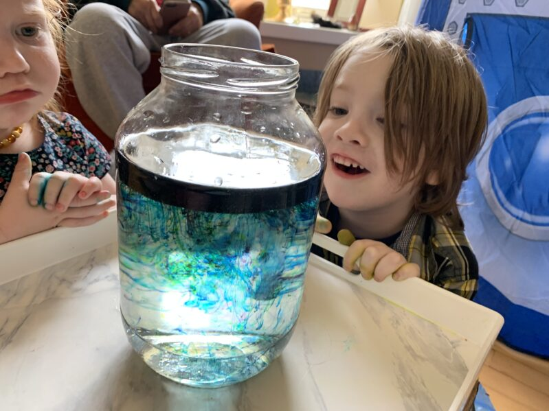 Make your own little shooting stars in a jar galaxy space experiment at home using simple supplies for kids.
