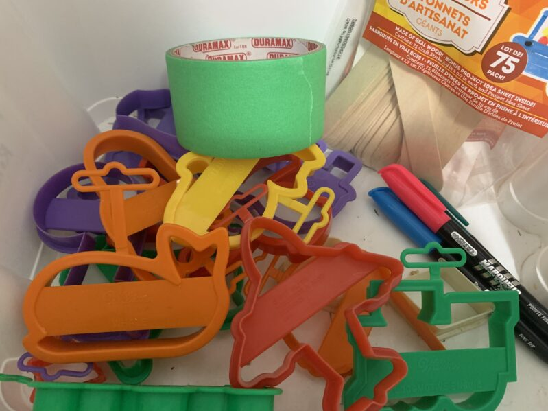 Supplies needed to DIY your own craft stick spelling puzzles for preschoolers.