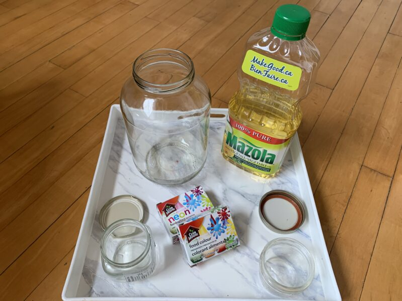 Supplies needed to create your own shooting stars in a jar science experiment at home.