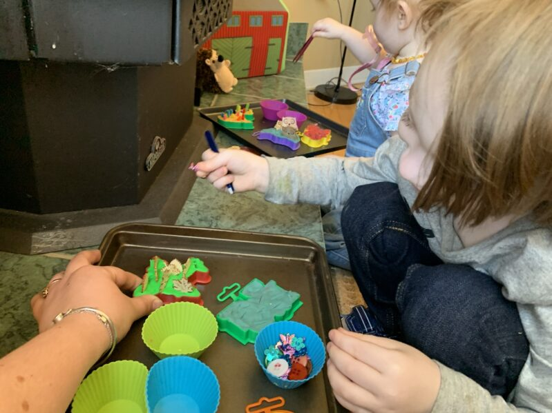 Continuing to play after finishing the fine motor tweezer activity