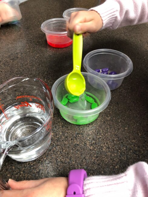to start the jelly bean experiment, cover each sorted color with water.