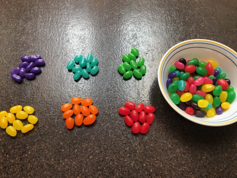 sorting jelly beans by color