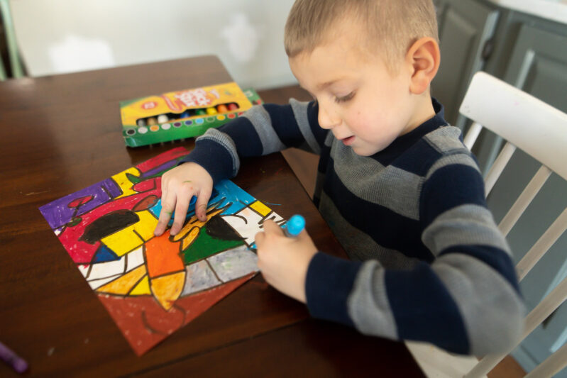 bold alphabet art for kids with gel crayons