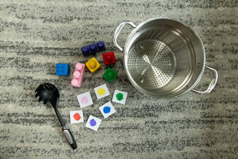 game idea for toddlers to learn colors - a simple matching game, BLOCK SOUP. Here's the setup.