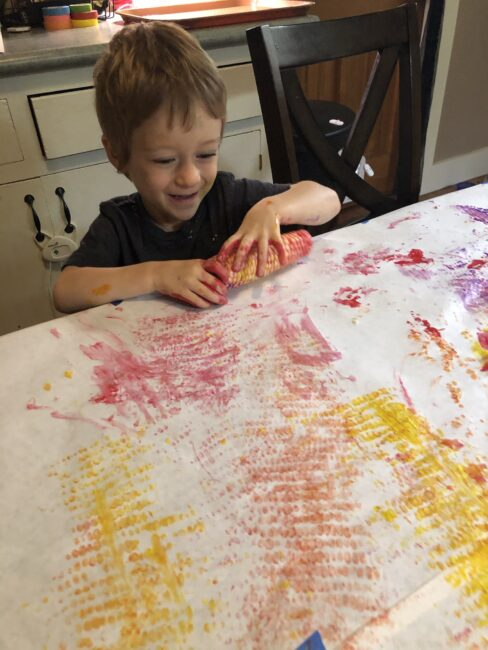 This simple fall corn painting activity combines art projects and sensory skills and you're kids will love it. Plus you can use it to decorate for thanksgiving!