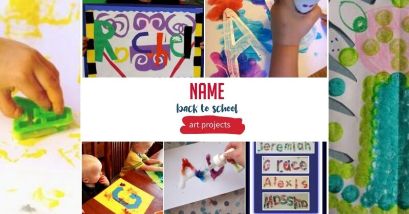 Name Art Projects forBack to School theme activities for kids at home or in the classroom.