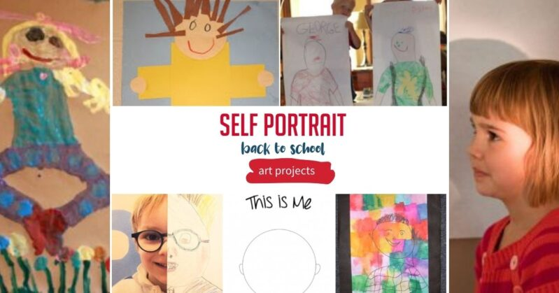 Self Portraits Art Projects for Back to School theme activities for kids to do at home or in the classroom.