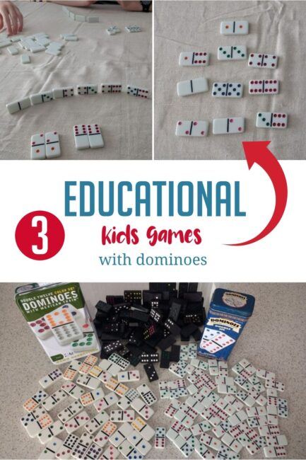 Grab domino tiles and your children and try out 3 fun learning math games at home with these hands on activity ideas using only dominoes!