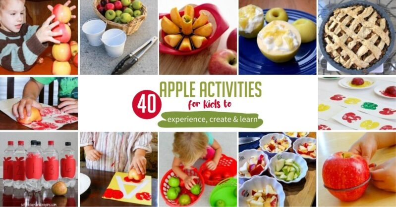 Here are 40 simple and amazing apple activities for kids to do at home! Have fun creating, tasting, learning and try apple experiments too!