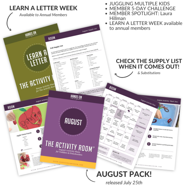 A full week sample of simple activities for toddlers and preschoolers planned for you for free. See what the members of The Activity Room are doing the week of August 9th! Let us do the planning so you can make the memories!