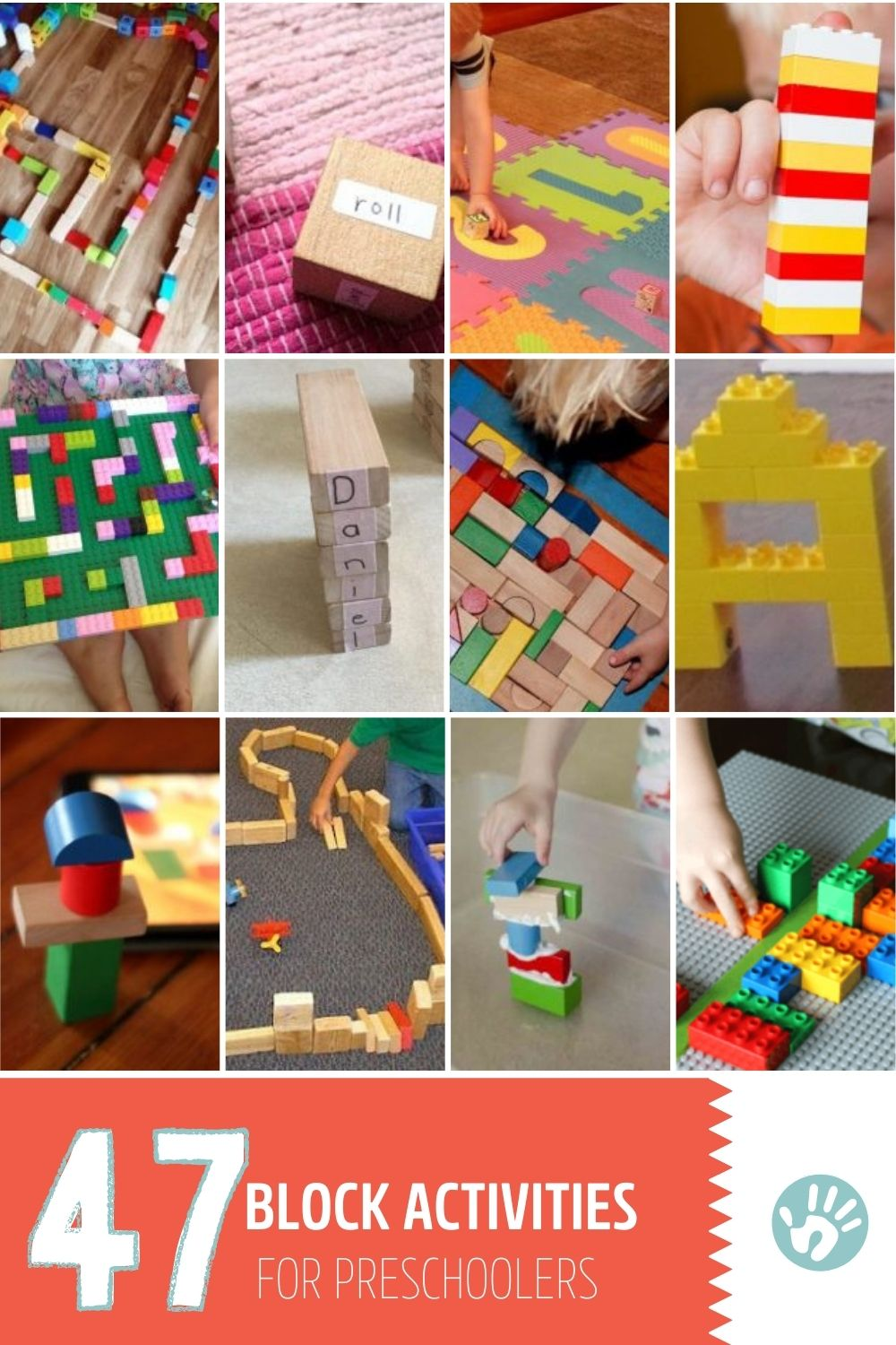 Lots of block activities for preschoolers and even toddlers using common blocks that are found in most homes - wooden blocks, Legos, and ABC blocks.